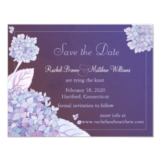 Purple Hydrangeas Floral Wedding Save the Date 4.25x5.5 Paper Invitation Card