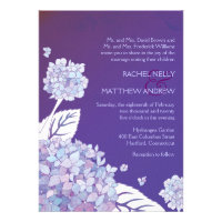 Purple Hydrangeas in Sunset Formal Wedding Invites