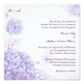 Purple Hydrangeas Monogram Wedding Invitation