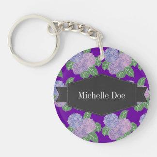 Purple Hydreangas Hortensia Barely Keychain