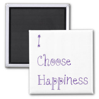 Purple I Choose Happiness 2 Inch Square Magnet