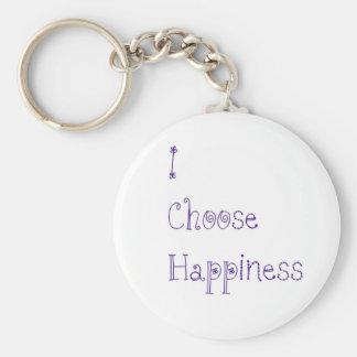 Purple I Choose Happiness Basic Round Button Keychain