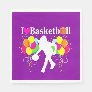 PURPLE I LOVE BASKETBALL PAPER NAPKINS