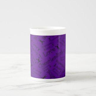 Purple I love cheerleading Bone China Mugs