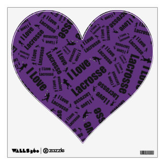 Purple I love lacrosse Wall Decals