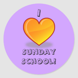 Purple I love sunday school stickers