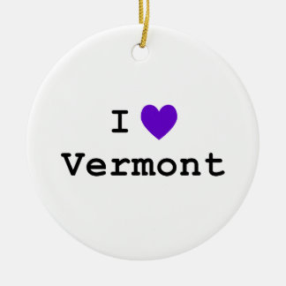 Purple I Love Vermont Double-Sided Ceramic Round Christmas Ornament