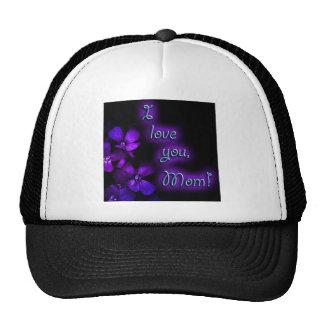 Purple I Love You Mom design Hats