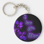 Purple I Love You Mom design Basic Round Button Keychain