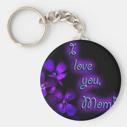 Purple I Love You Mom design Key Chains