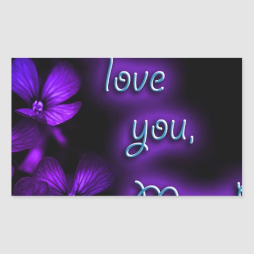 Purple I Love You Mom design Sticker