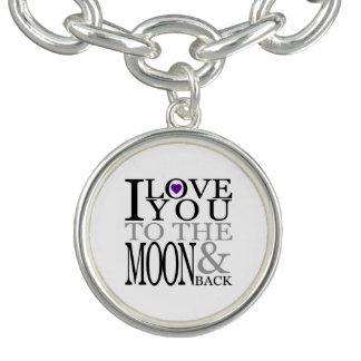 Purple I Love You to the Moon and Back Charm Bracelet