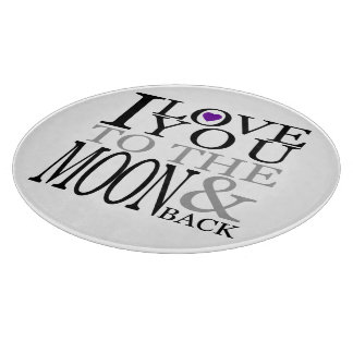 Purple I Love You to the Moon and Back Cutting Board