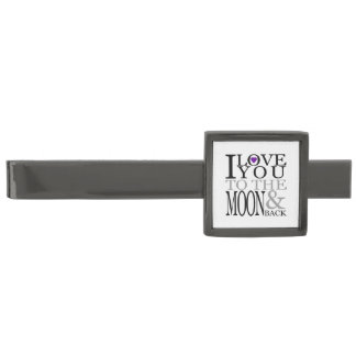Purple I Love You to the Moon and Back Gunmetal Finish Tie Bar