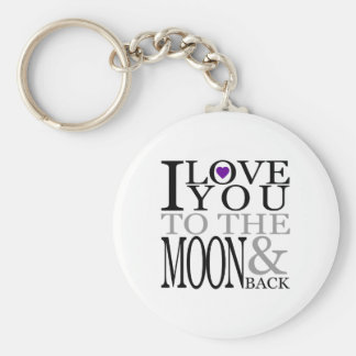 Purple I Love You to the Moon and Back Basic Round Button Keychain