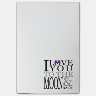 Purple I Love You to the Moon and Back Post-it Notes