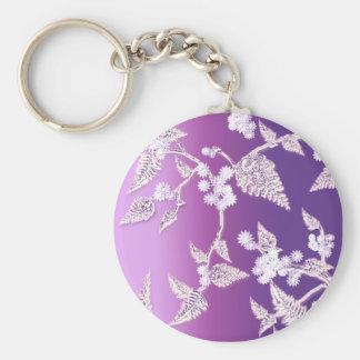 purple ice basic round button keychain