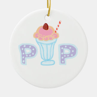 Purple Ice Cream Pop Double-Sided Ceramic Round Christmas Ornament