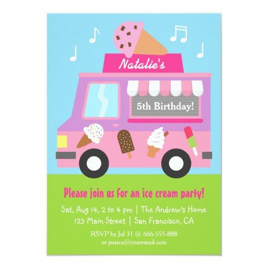purple ice cream truck birthday party invitations | zazzle, Party invitations