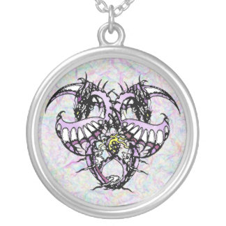 Purple Ice Dragonheart Silver Plated Necklace