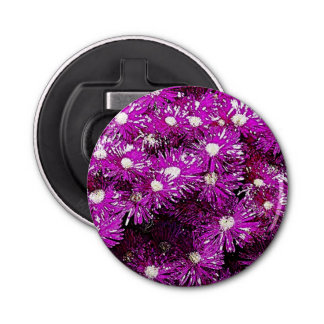 Purple Ice Plant Abstract Button Bottle Opener