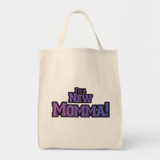 Purple I'm a New Momma Tshirts and Gifts Grocery Tote Bag