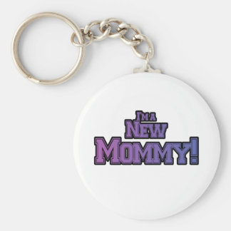 Purple I'm A New  Mommy Tshirts and Gifts Basic Round Button Keychain