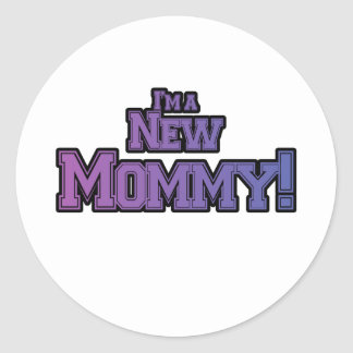 Purple I'm A New  Mommy Tshirts and Gifts Classic Round Sticker