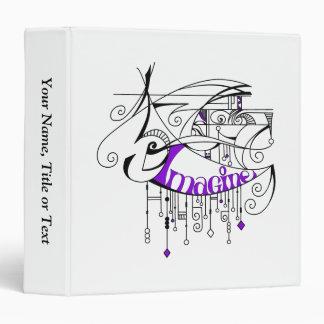 Purple Imagine In Lines and Dangles Binder