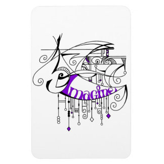 Purple Imagine In Lines and Dangles Magnet