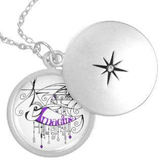 Purple Imagine In Lines and Dangles Round Locket Necklace