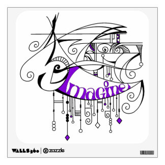 Purple Imagine In Lines and Dangles Wall Sticker