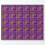 """[ Thumbnail: Purple, Imitation Gold Look """"10th Birthday"""" Wrapping Paper ]"""