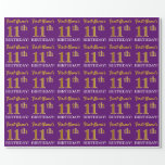 """[ Thumbnail: Purple, Imitation Gold Look """"11th Birthday"""" Wrapping Paper ]"""