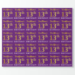 """[ Thumbnail: Purple, Imitation Gold Look """"13th Birthday"""" Wrapping Paper ]"""