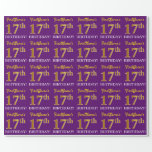 """[ Thumbnail: Purple, Imitation Gold Look """"17th Birthday"""" Wrapping Paper ]"""