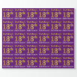"""[ Thumbnail: Purple, Imitation Gold Look """"18th Birthday"""" Wrapping Paper ]"""
