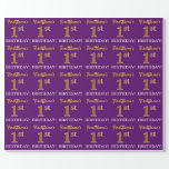 """[ Thumbnail: Purple, Imitation Gold Look """"1st Birthday"""" Wrapping Paper ]"""