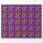 """[ Thumbnail: Purple, Imitation Gold Look """"20th Birthday"""" Wrapping Paper ]"""