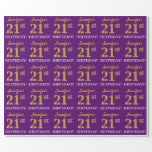 """[ Thumbnail: Purple, Imitation Gold Look """"21st Birthday"""" Wrapping Paper ]"""