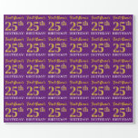 """[ Thumbnail: Purple, Imitation Gold Look """"25th Birthday"""" Wrapping Paper ]"""