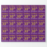 """[ Thumbnail: Purple, Imitation Gold Look """"30th Birthday"""" Wrapping Paper ]"""