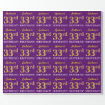 """[ Thumbnail: Purple, Imitation Gold Look """"33rd Birthday"""" Wrapping Paper ]"""