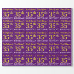 """[ Thumbnail: Purple, Imitation Gold Look """"35th Birthday"""" Wrapping Paper ]"""