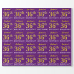 """[ Thumbnail: Purple, Imitation Gold Look """"36th Birthday"""" Wrapping Paper ]"""