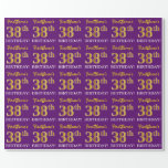 """[ Thumbnail: Purple, Imitation Gold Look """"38th Birthday"""" Wrapping Paper ]"""