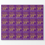 """[ Thumbnail: Purple, Imitation Gold Look """"39th Birthday"""" Wrapping Paper ]"""