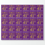 """[ Thumbnail: Purple, Imitation Gold Look """"41st Birthday"""" Wrapping Paper ]"""