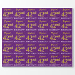 """[ Thumbnail: Purple, Imitation Gold Look """"42nd Birthday"""" Wrapping Paper ]"""