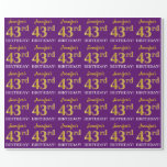 """[ Thumbnail: Purple, Imitation Gold Look """"43rd Birthday"""" Wrapping Paper ]"""